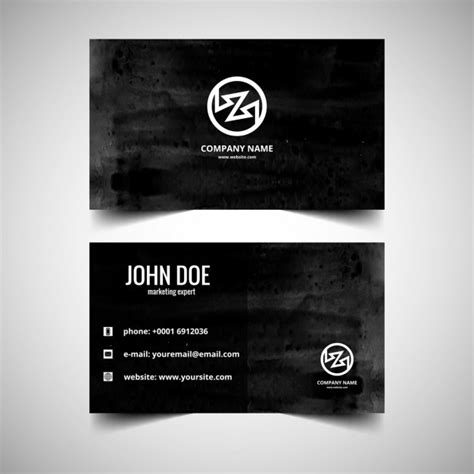 black visiting card in watercolor style vector free download