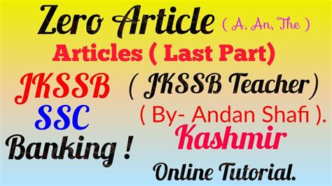 Ssc Online Tutorial Youtube | zero article concept for all upcoming exams of jkssb ssc