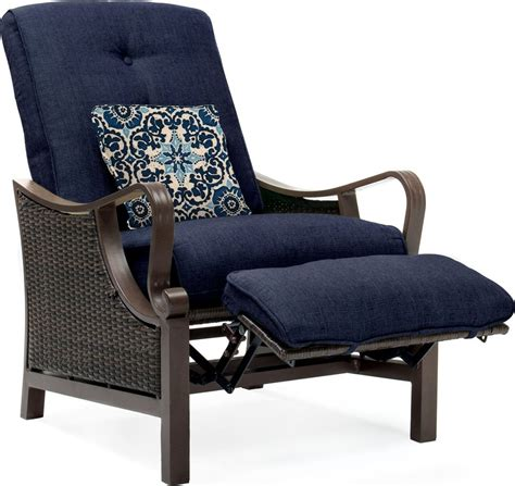 patio recliner hanover ventura luxury resin wicker outdoor recliner chair