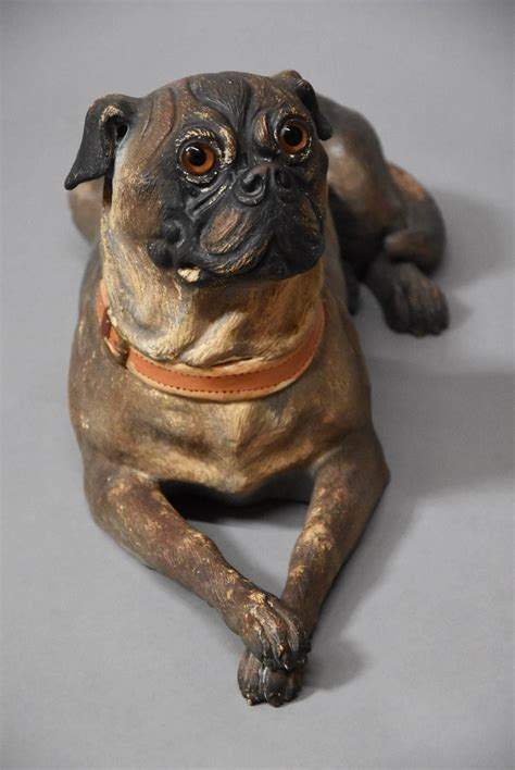 pug furniture austrian late 19th century reclining terracotta pug for sale at 1stdibs