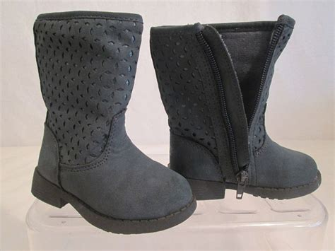 oshkosh b gosh grayish blue faux suede zipper boots