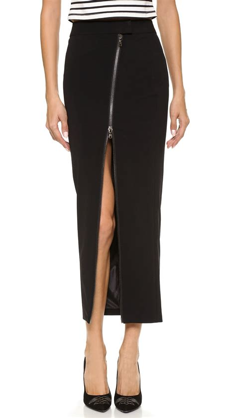 balmain zip pencil maxi skirt black in black lyst