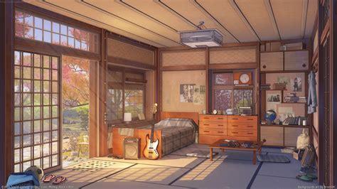 Anime Room by Wallpaper Anime Wood House Visual Novel Interior