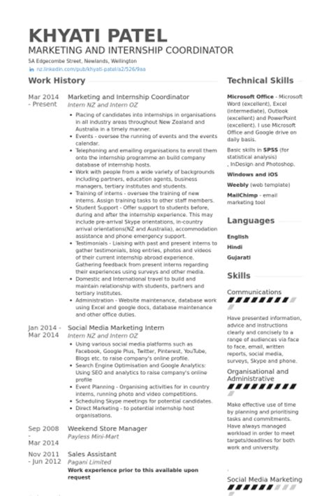resume sles for internship marketing internship resume