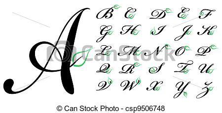 grafica lettere vettore di lettere foglia verde lettere con verde