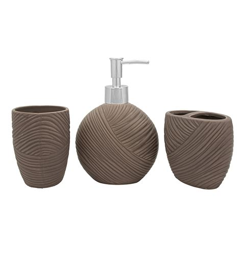 buy home grey ceramic bathroom accessories set of