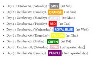 navratri colors why colors of 9 days in navratri changes every year quora