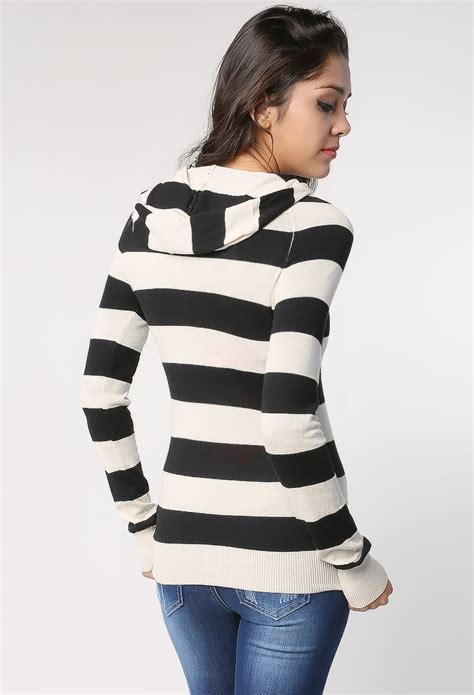 Striped Hooded Sweater striped hooded sweater shop tops at papaya clothing