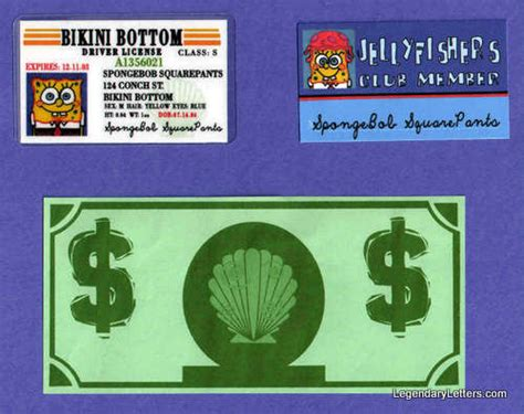 spongebob id card template spongebob props