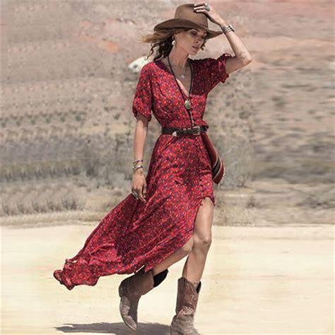 Slip On Bohemian Style 1 new 2017 summer boho v neck floral print split maxi dress casual 3 4