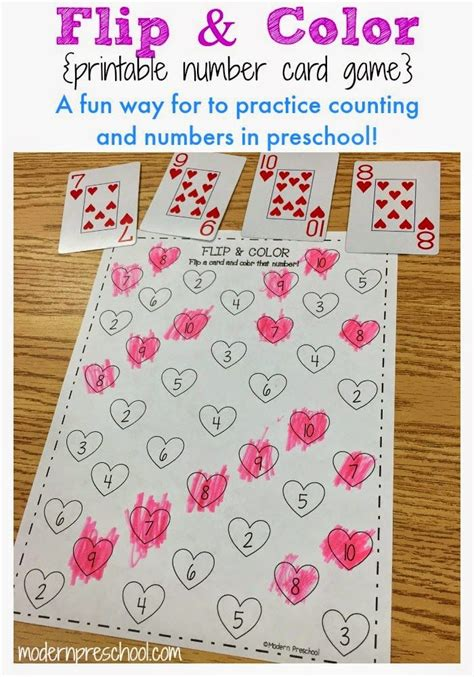 free printable number recognition cards heart flip color number activity free printable
