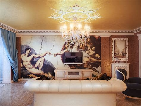 classical style living room wall mural interior design ideas