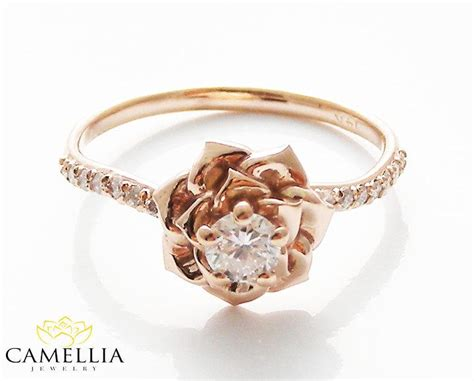 rings with flowers 14k gold engagement ring by camellia jewelry