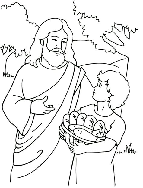 Jesus Feeds 5 000 Coloring Page