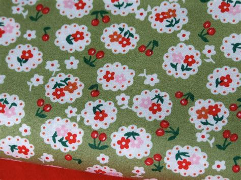 Floral Patchwork Fabric - green floral vintage style 100 cotton fabric
