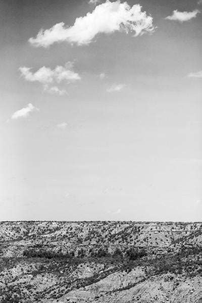 Big Sky over Palo Duro Canyon - Black and White Landscape