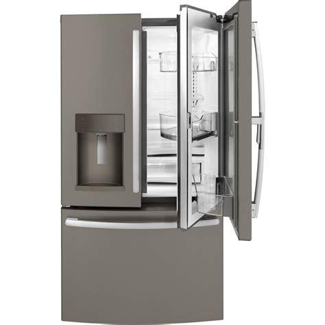 ge 27 8 cu ft french door refrigerator in slate ge 36 in w 27 8 cu ft french door refrigerator with