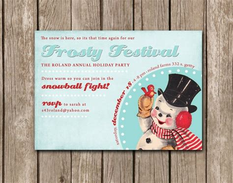 vintage frosty the snowman christmas invitation p ink