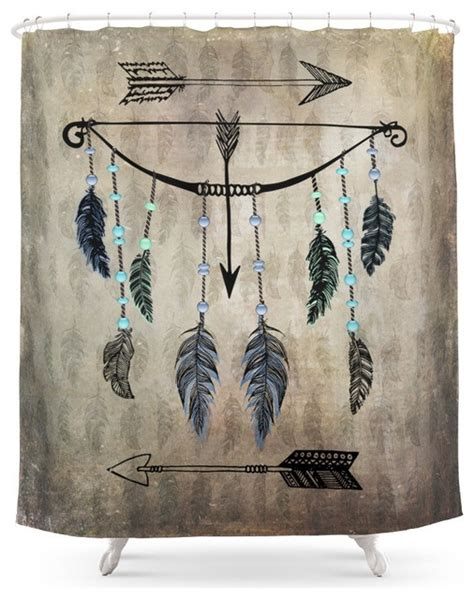 southwestern shower curtains society6 bow arrow and feathers shower curtain