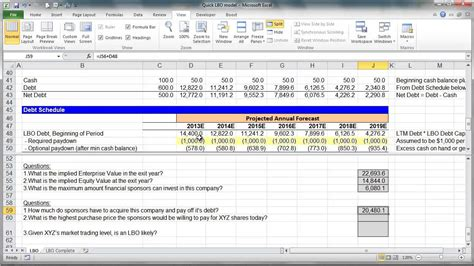 lbo model template financial modeling lesson simple lbo model 3 of 3