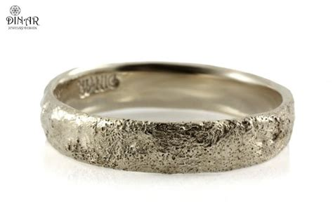 Bark Design Wedding Ring by Sterling Silver Hammered Wedding Band Tree Bark Texture