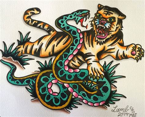 watercolor tattoo vs regular tattoo tiger vs snake by josh tats tattoos traditional