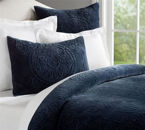 pottery barn quilts and coverlets velvet medallion coverlet quilt sham pottery barn m