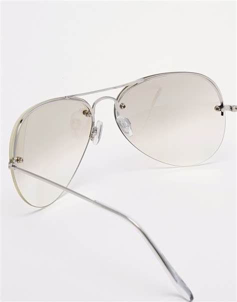 sunglasses with lights lyst asos aviator sunglasses with light lens in metallic