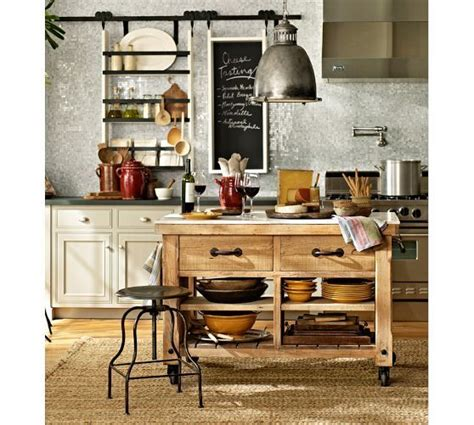 Pottery Barn Kitchen Ideas Hamilton Reclaimed Wood Marble Top Kitchen Island Large