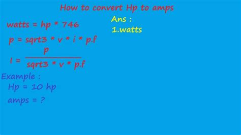 converter hp to kw how to convert hp to s electrical calculation youtube