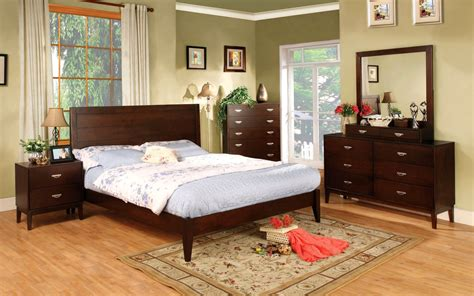 lake contemporary brown cherry bedroom set with brushed nickel pulls cm7910