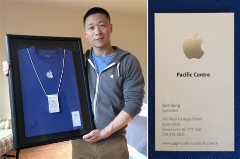 apple employee former apple employee sam sung auctioning business card