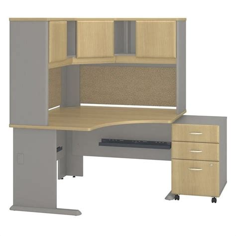Oak Corner Desk With Hutch Bush Business Series A 48 Quot Corner Desk With Hutch In Light Oak Ebay