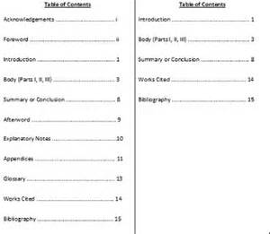 search results for table of contents page mla format