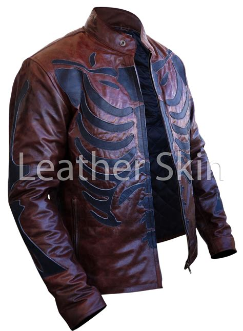Best Seller Skeleton Leather White Brown Leather two tone distressed brown black skeleton biker motorcycle leather jacket outerwear