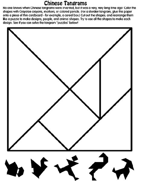 printable tangram puzzle outlines chinese tangrams coloring page crayola com