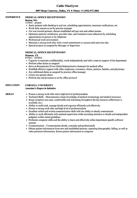 interesting receptionist resume sample australia with medical