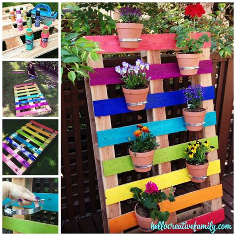 How To Create A Flower Garden How To Make A Diy Upcycled Rainbow Pallet Flower Garden Planter Hello Creative Family