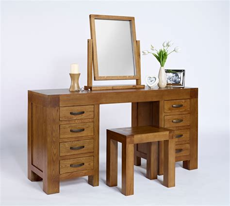 Bathroom Vanity With Dressing Table Varnished Wooden Vanity Dressing Table With Rectangular Mirror And Varnished Wooden Stool With