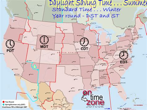 us time zone map with daylight savings ontimezone time zones for the usa and america