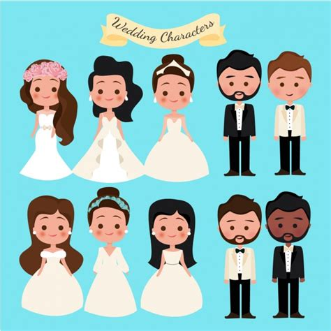 wedding characters wedding characters collection vector free