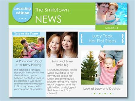 family news newsletter smilebox