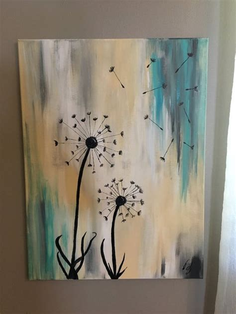 acrylic paint on wood ideas dandelion painting by jensenacrylics on etsy home sweet