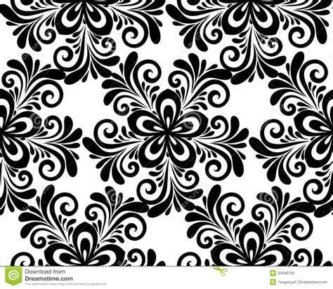 white pattern floral black and white floral seamless pattern stock vector