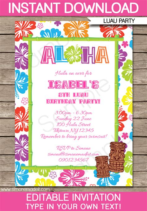 printable birthday invitations luau luau party invitations template luau invitations