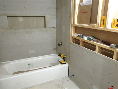 sheetrock for bathrooms drywall and cement board for the downstairs bathroom