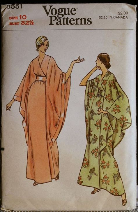 vintage pattern 1994 cocoon jacket batwing sleeve dolman pattern vintage sewing pattern 70s misses robe or caftan with cape