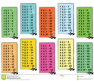 Flash Cards Multiplication Printable Colorful Multiplication Table With Frames Stock Vector