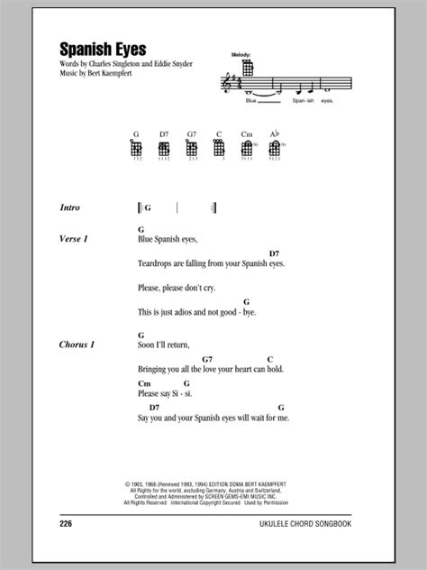 strumming pattern for blue eyes crying in the rain spanish eyes sheet music by elvis presley ukulele with