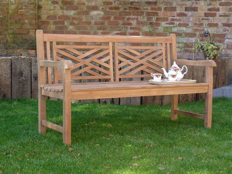 oxford garden bench oxford cross weave back teak bench 150cm teak bench cross weave back